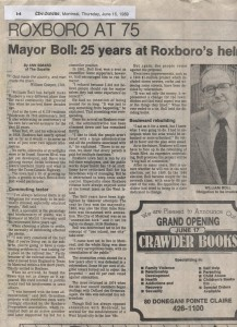 Maire Wm G. Boll, article The Gazette , 15 juin 1989