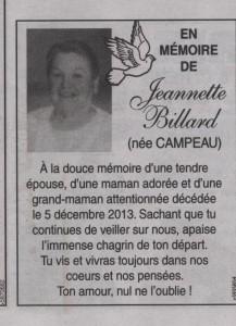 1e Anniversaire du Décès de Jeannette Billard 001