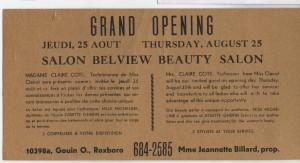 Salon Belview, Grande Ouverture 1967, Annonce 001