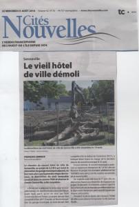 Le vieil hotel de ville de Senneville démoli
