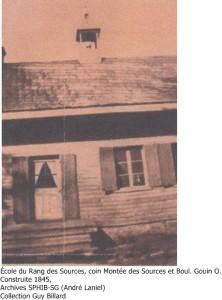 École construite 1845, coin SE des Sources et Boul. Gouin O., Pfds, Arch. SPHIB-SG